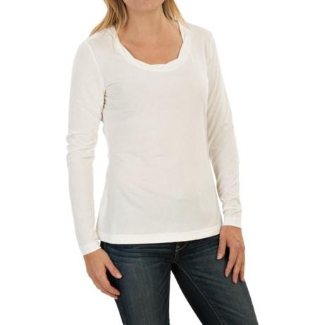 Royal Robbins Essential TENCEL® Twist Neck Shirt - UPF 50+, Long Sleeve (For Women) in Creme