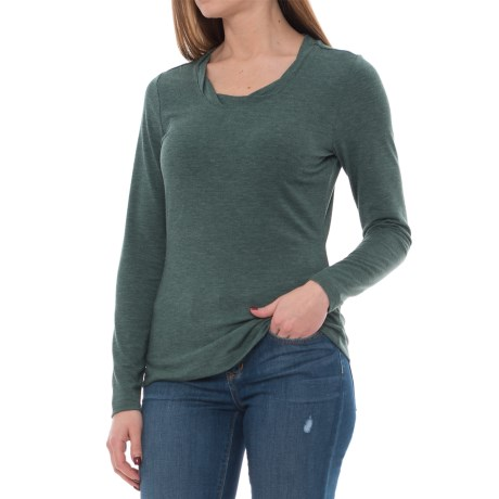 Royal Robbins Essential TENCEL® Twist Neck Shirt - UPF 50+, Long Sleeve (For Women) in Greengables