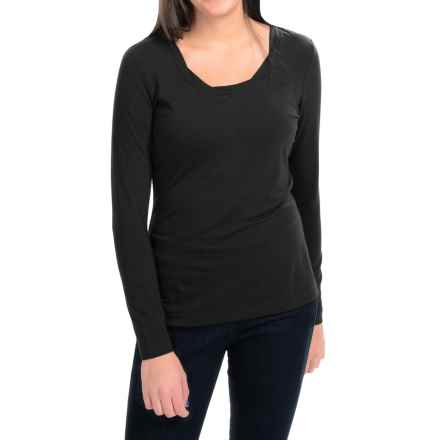 Royal Robbins Essential TENCEL® Twist Neck Shirt - UPF 50+, Long Sleeve (For Women) in Jet Black - Closeouts