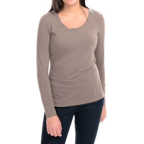 Royal Robbins Essential TENCEL® Twist Neck Shirt - UPF 50+, Long Sleeve (For Women) in Taupe