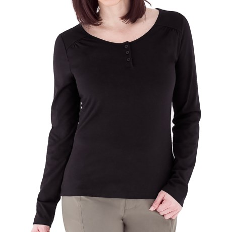 Royal Robbins Essential Traveler Henley Shirt - UPF 50+, Stretch Jersey, Long Sleeve (For Women) in Jet Black