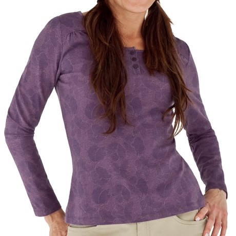 Royal Robbins Essential Traveler Printed Henley Shirt - UPF 50+, Long Sleeve (For Women) in Fig