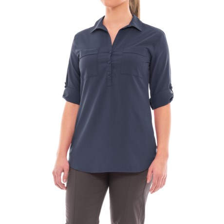 Royal Robbins Expedition Chill Tunic Shirt - UPF 50+, Roll-Up Long Sleeve (For Women) in Navy