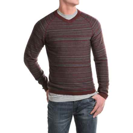 Royal Robbins Fireside Wool V-Neck Stripe Sweater (For Men) in Dark Firecrack - Closeouts