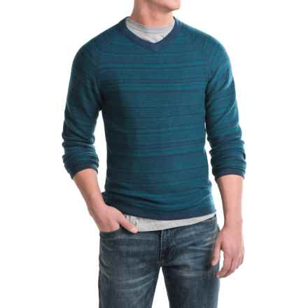 Royal Robbins Fireside Wool V-Neck Stripe Sweater (For Men) in Deep Blue - Closeouts