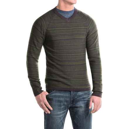 Royal Robbins Fireside Wool V-Neck Stripe Sweater (For Men) in Petrified Oak - Closeouts