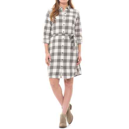 Royal Robbins Jackson Plaid Dress - Long Sleeve (For Women) in Creme - Closeouts