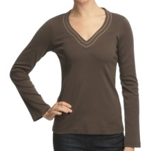Royal Robbins Kick Back Pick-Stitch Shirt - UPF 50+, V-Neck, Long Sleeve (For Women) in Turkish Coffee - Closeouts