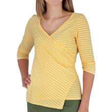 Royal Robbins Lucy Stripe Crossover Shirt - 3/4 Sleeve (For Women) in Dark Daffodill - Closeouts