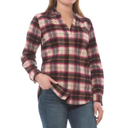 Royal Robbins MerinoLux Plaid Flannel Shirt - UPF 50+, Snap Front, Long Sleeve (For Women) in Raspberry Cream - Closeouts