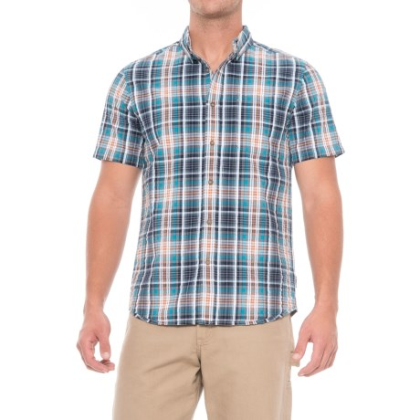 Royal Robbins Mid-Coast Seersucker Plaid Shirt - Short Sleeve (For Men) in Deep Blue