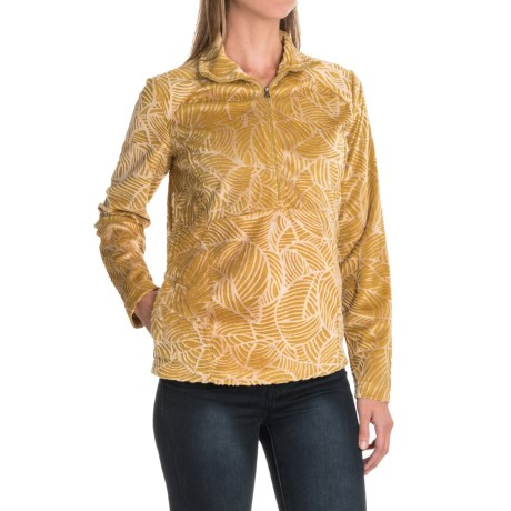 Royal Robbins Moon Dance Velvet Fleece Shirt - UPF 50+, Zip Neck, Long Sleeve (For Women) in Thistle Green