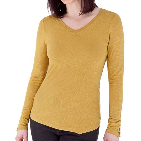 Royal Robbins Nabru Shirt - Seaside Slub Rayon, V-Neck, Long Sleeve (For Women) in Husk