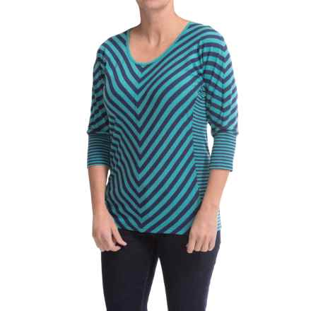 Royal Robbins Noe Multi-Stripe Shirt - 3/4 Sleeve (For Women) in Dark Aqua - Closeouts