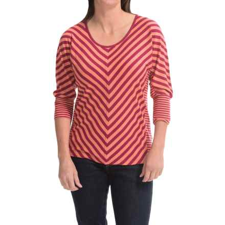 Royal Robbins Noe Multi-Stripe Shirt - 3/4 Sleeve (For Women) in Raspberry - Closeouts