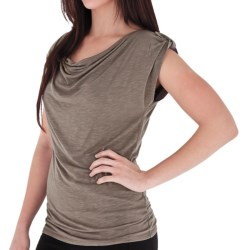 Royal Robbins Noe Shirt - Button-Tab Shoulders, Cowl Neck, Sleeveless (For Women) in Taupe