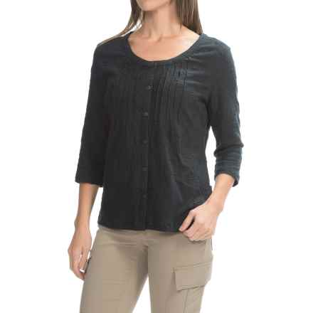 Royal Robbins Oasis Embroidered Shirt - 3/4 Sleeve (For Women) in Jet Black - Closeouts