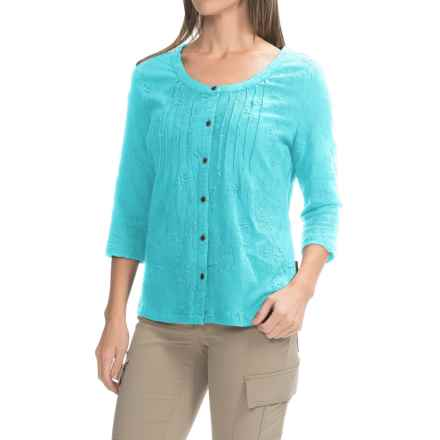 Royal Robbins Oasis Embroidered Shirt - 3/4 Sleeve (For Women) in Marine - Closeouts