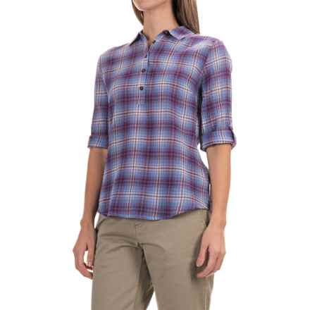 Royal Robbins Oasis Plaid Pullover Shirt - 3/4 Sleeve (For Women) in Amethyst - Closeouts