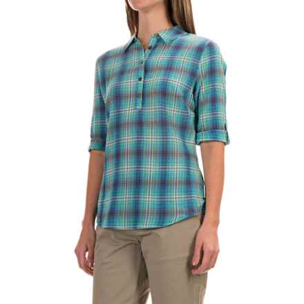 Royal Robbins Oasis Plaid Pullover Shirt - 3/4 Sleeve (For Women) in Spearmint - Closeouts