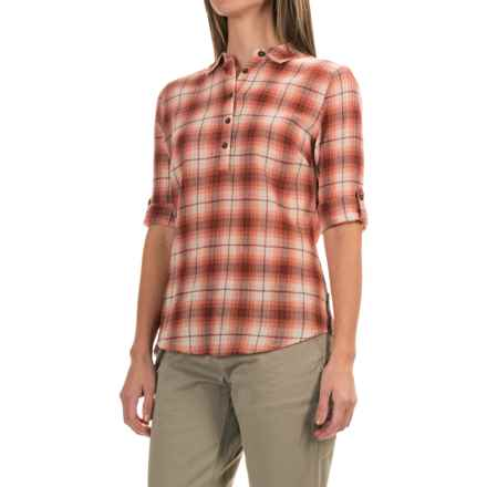 Royal Robbins Oasis Plaid Shirt - 3/4 Sleeve (For Women) in Light Cantaloup - Closeouts