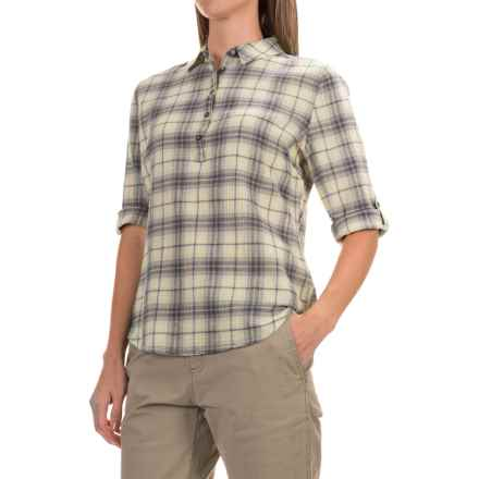 Royal Robbins Oasis Plaid Shirt - 3/4 Sleeve (For Women) in Lightt Khaki - Closeouts