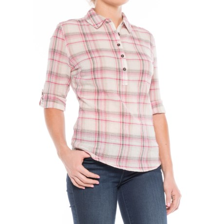 Royal Robbins Oasis Plaid Shirt - Long Sleeve (For Women) in Creme
