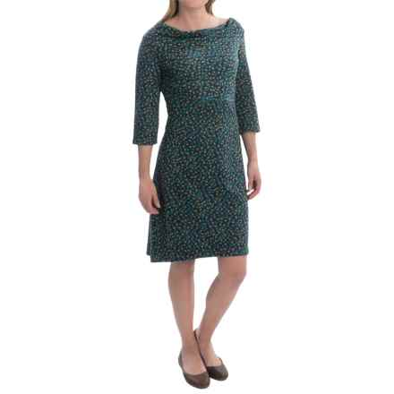 Royal Robbins Ponte Patterned Dress - 3/4 Sleeve (For Women) in Deep Blue - Closeouts