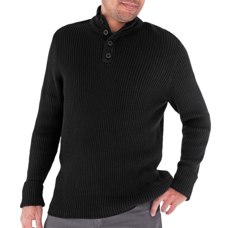 Royal Robbins Quebec Button Sweater - Mock Neck (For Men) in Jet Black