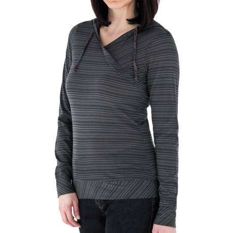 Royal Robbins Sandstone Stripe Hooded Shirt (For Women) in Charcoal