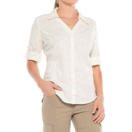 Royal Robbins Sky Print Shirt - UPF 50+, Roll-Up 3/4 Sleeve (For Women) in Creme - Closeouts
