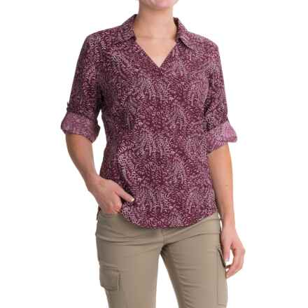 Royal Robbins Sky Print Shirt - UPF 50+, Roll-Up 3/4 Sleeve (For Women) in Plum Wine - Closeouts