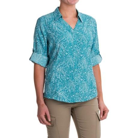 Royal Robbins Sky Print Shirt - UPF 50+, Roll-Up 3/4 Sleeve (For Women) in Reservoir