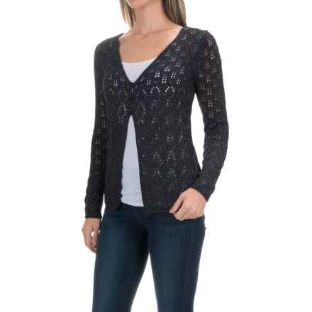 Royal Robbins Summertime Pointelle Cardigan Sweater - Cotton Blend (For Women) in Jet Black - Closeouts