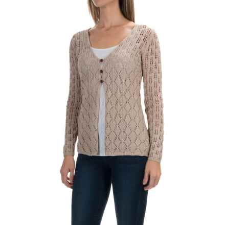 Royal Robbins Summertime Pointelle Cardigan Sweater - Cotton Blend (For Women) in Light Khaki - Closeouts