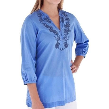 Royal Robbins The Artisan Shirt - 3/4 Sleeve (For Women) in Salvia Blue