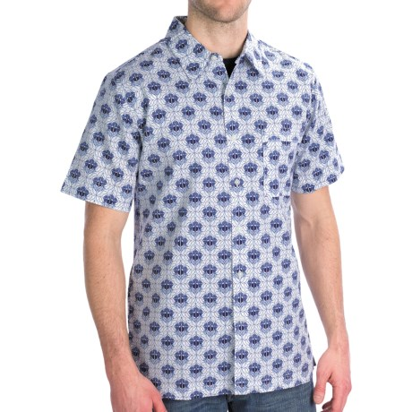 Royal Robbins Topography Print Shirt - Short Sleeve (For Men) in Arctic Blue