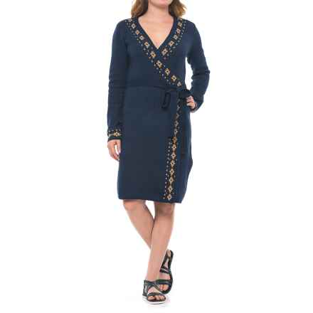 Royal Robbins Wrap Sweater Dress - Long Sleeve (For Women) in Navy - Closeouts
