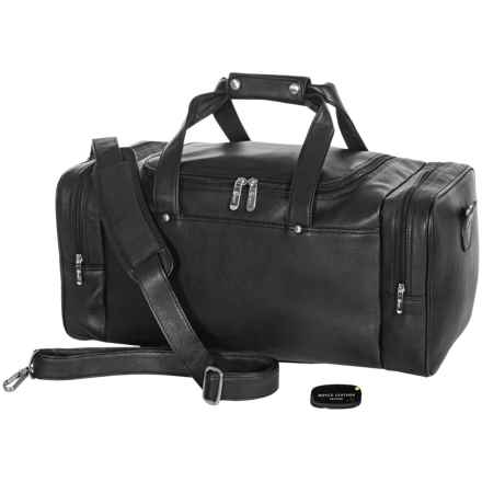 Royce Leather American Genuine Leather Weekender Duffel Bag - Lost Luggage Tracking Device in Black - Closeouts