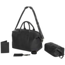 Royce Leather Weekender Duffel Bag - Luxury Travel Gift Set in Black - Closeouts