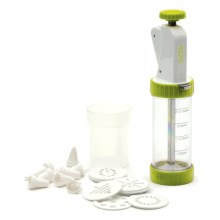 RSVP International Cookie Press Plus with Discs and Decorating Tips in Green/White - Closeouts