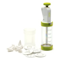 RSVP International Cookie Press Plus with Discs and Decorating Tips in Green/White