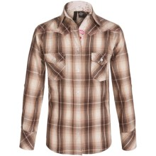 RU Apparel Plaid Shirt - Long Sleeve (For Big Girls) in Taupe/Pink - Closeouts