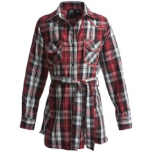 RU Cowgirl Crownpoint Plaid Tunic Shirt - Tie Waist, Long Sleeve (For Girls) in Red/Black - Closeouts