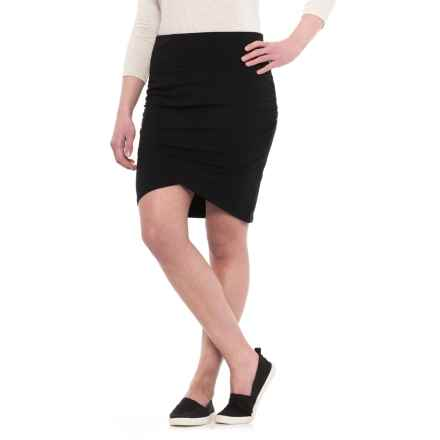 Ruched Cotton-Modal Skirt (For Women) in Black - 2nds