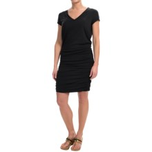 Ruched V-Neck Dress - Stretch Cotton, Short Sleeve (For Women) in Black - Closeouts