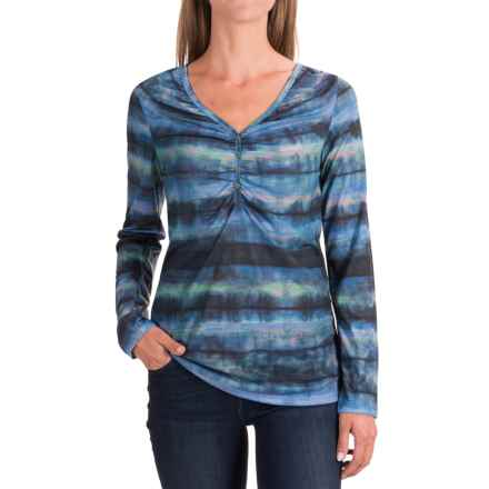 Ruched V-Neck Shirt - Long Sleeve (For Women) in Blue Multi - 2nds