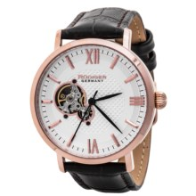 Rudiger Stuttgart Gold-Tone Watch - Leather Strap (For Men) in White/Rose Gold/Blue - Closeouts