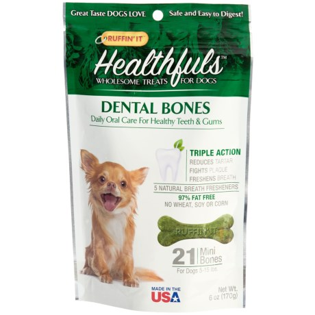 Ruffin' It Healthfuls Dental Dog Bones - Mini, 21-Count in See Photo