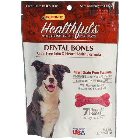 Ruffin' It Healthfuls Grain-Free Heart and Joint Health Dental Dog Bones - Regular, 7-Count in See Photo